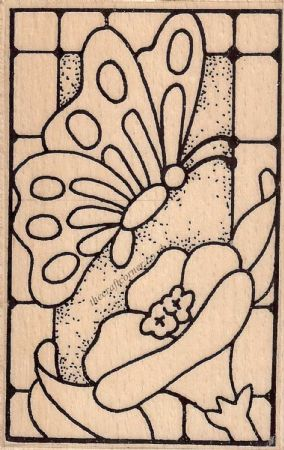 Butterfly Stained Glass Wood Mounted Rubber Stamp by Creative Expressions